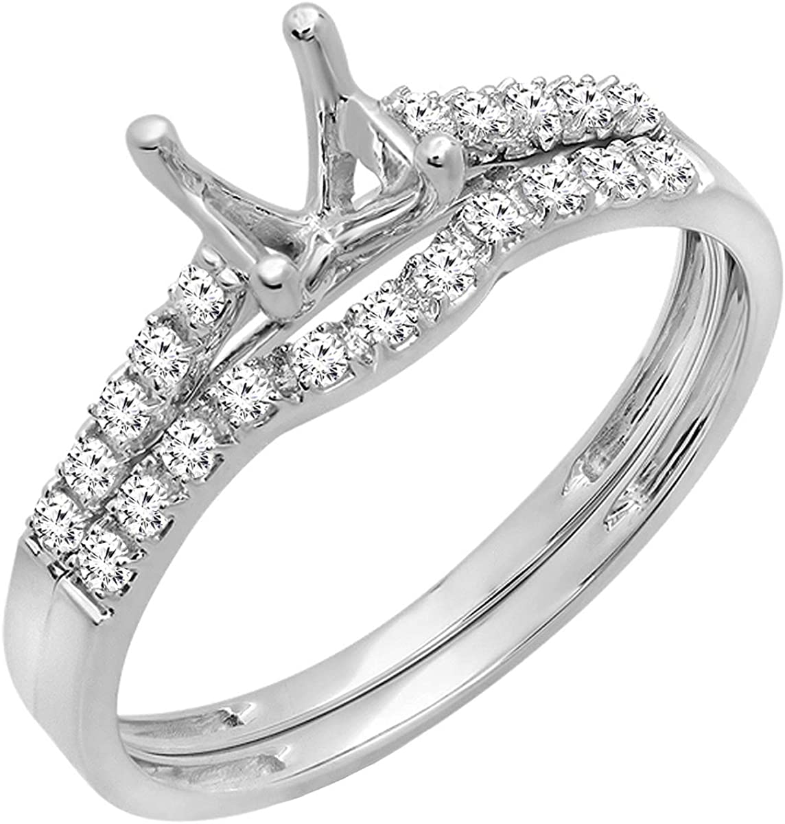 Dazzlingrock Collection 0.23 Carat (ctw) Round Diamond Semi Mount Bridal Engagement Ring Set 1/4 CT, Can be Fit 0.75 to 1.00 Ct. (5.8 MM to 6.5 MM) Round Center Stone, 10K Gold