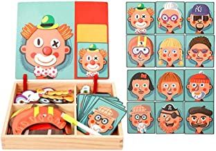 St. Lun Wooden Magnetic Puzzle Toys Children 3D Puzzle Figure Animals Drawing Board Learning Wood Toys for Kids