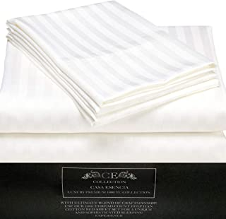 CE CASA ESENCIA Luxury 100% Egyptian Cotton Sheets 1000 Thread Count 4 Piece Extra Deep Pocket Bed Sheet Set Sateen Stripe (King, White)