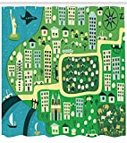 ZMYGH New York Shower Curtain, Cartoon Illustration of NYC with Absurd Hand Drawn Urban Icons and Central Park, Fabric Bathroom Decor Set with Hooks, 60 X 72inch, Multicolor
