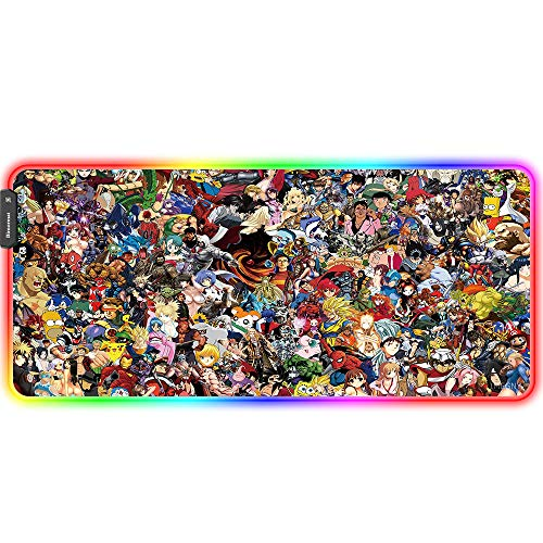 Bimormat Anime RGB, tappetino per mouse da gioco, 900 x 400 x 3 mm, XXL, con base in gomma antiscivolo e bordi cuciti per giocatori personalizzati (90 x 40 gyunji)