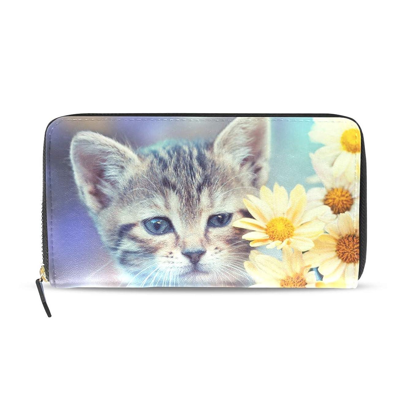 涙涙衝動旅立の店 長財布 人気 レディース メンズ 大容量多機能 二つ折り ラウンドファスナー PUレザー 子猫と花柄 可愛い ウォレット ブラック