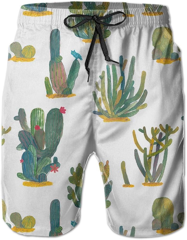 Beach Pants Succulent Plants Men's Workout Gym Short Shorts Pockets Sweatpants Waist Tension Design