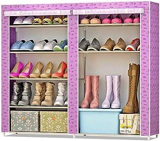 JJZXT Simple Shoe Shoe Rack Cabinet, Multi-Couches assemblées Fer Stockage antipoussière Tissu Chaussures Cabinet Moderne ...
