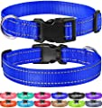 FunTags Reflective Nylon Dog Collar with Quick Release Buckle Adjustable,Classic Solid Colors,Nvblue,Small Size