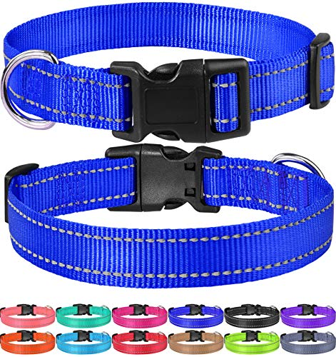 FunTags Reflective Nylon Dog Collar,Adjustable Pet Collars with Quick Release Buckle,12 Classic Solid Colors,4 Sizes,Royal Blue,Small Size