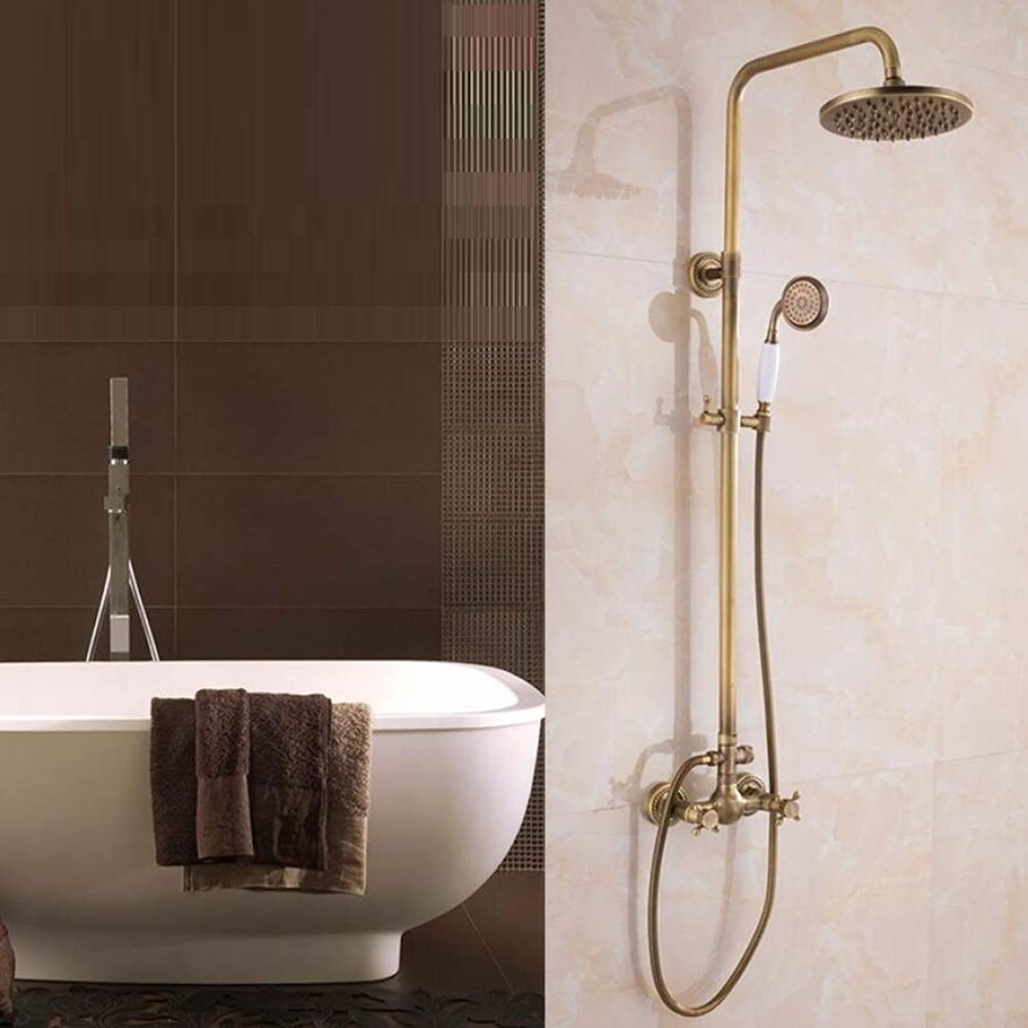 ZXY Bathroom Shower Mixer Set Dual Knobs Mixer Rainfall Shower Set, top shower Head and Handheld shower set, Bathroom Antique Copper Shower Set