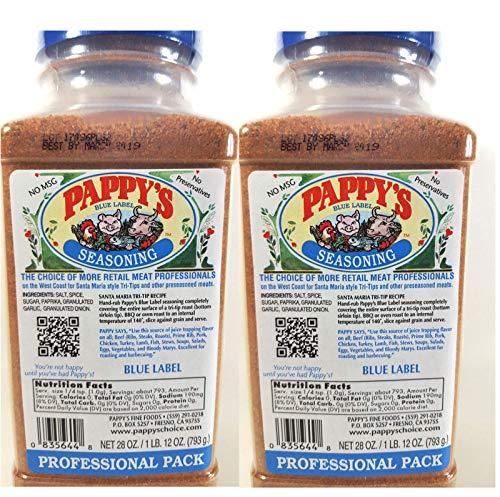 Pappy's Choice Seasoning 2- 28 oz -50% less Salt Professional Packs (Blue Label)