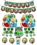 smileh Gaming Cumpleaños Decoracion Globos Pancarta de Cumpleaños de Pixel Para Fiestas Adornos para Pastel Banner Cumpleaños Videojuegos Decoraciones