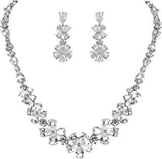 WeimanJewelry Flower Cubic Zirconia Necklace and Earring Bridal Jewelry Set in Rhodium Silver