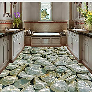 Lifme Custom Photo Wall Paper Cobblestone Water Waves 3D Floor Mural PVC Waterproof Bathroom Floor Sticker Wallpaper Wall Painting 3D-150X120Cm