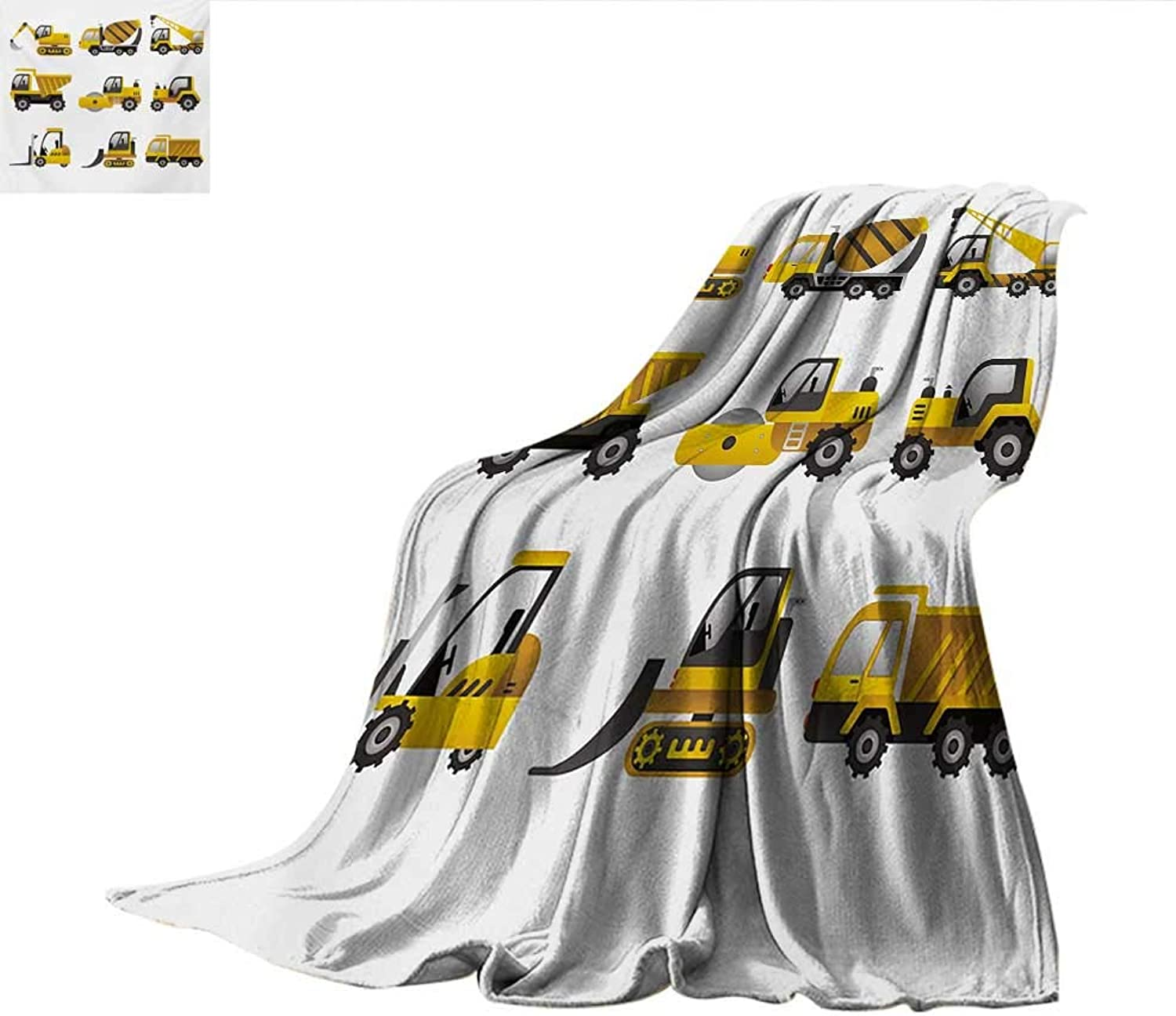 Construction Weave Pattern Blanket Big Vehicles Icon Collection Engineering Building Theme Clip Art Style Summer Quilt Comforter 60 x50  Yellow Grey White