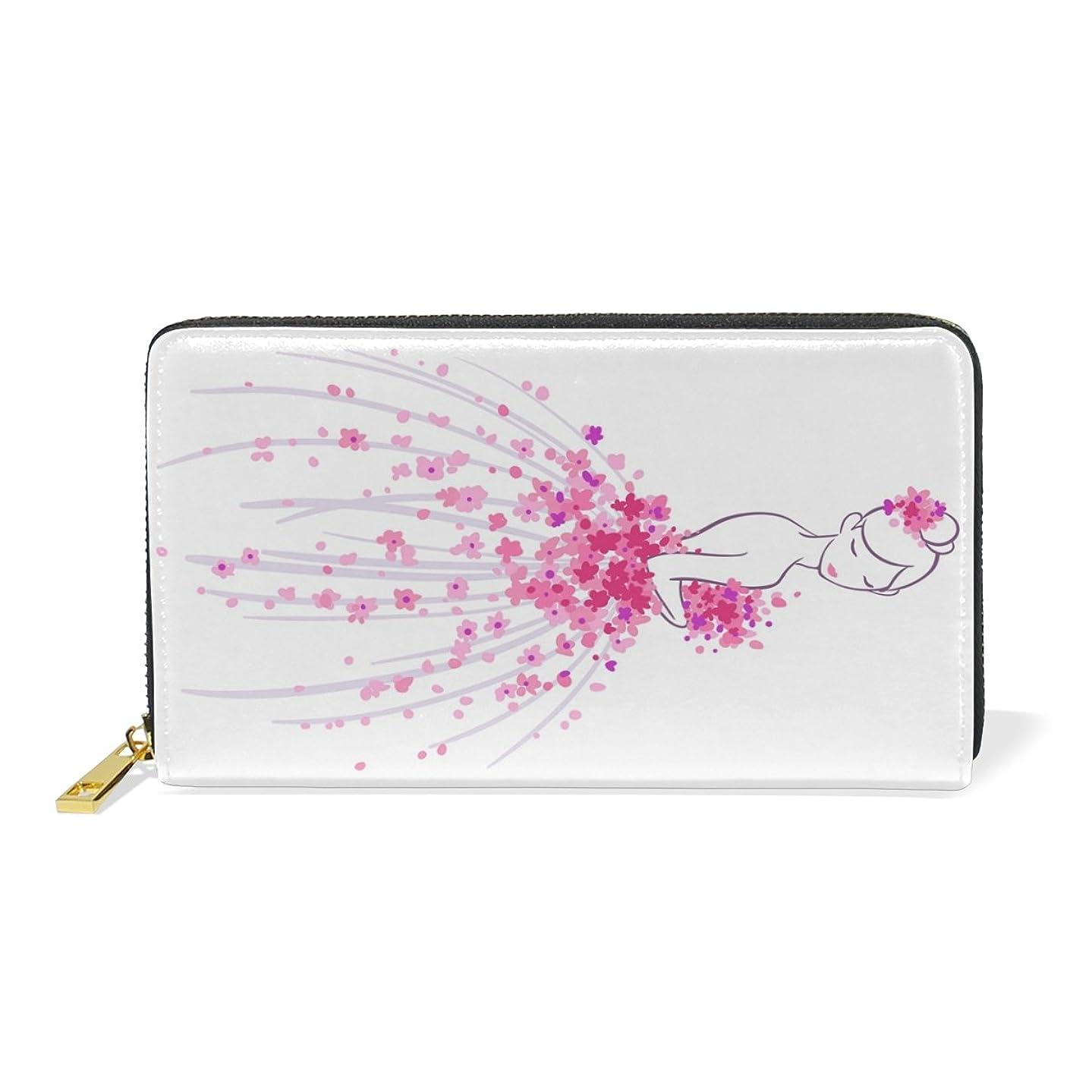 スリップ視線個人的なALAZA 財布 可愛い プリンセス 本革 大容量 18枚 多機能 ラウンドファスナー 小銭入れ付 レディース 二つ折り