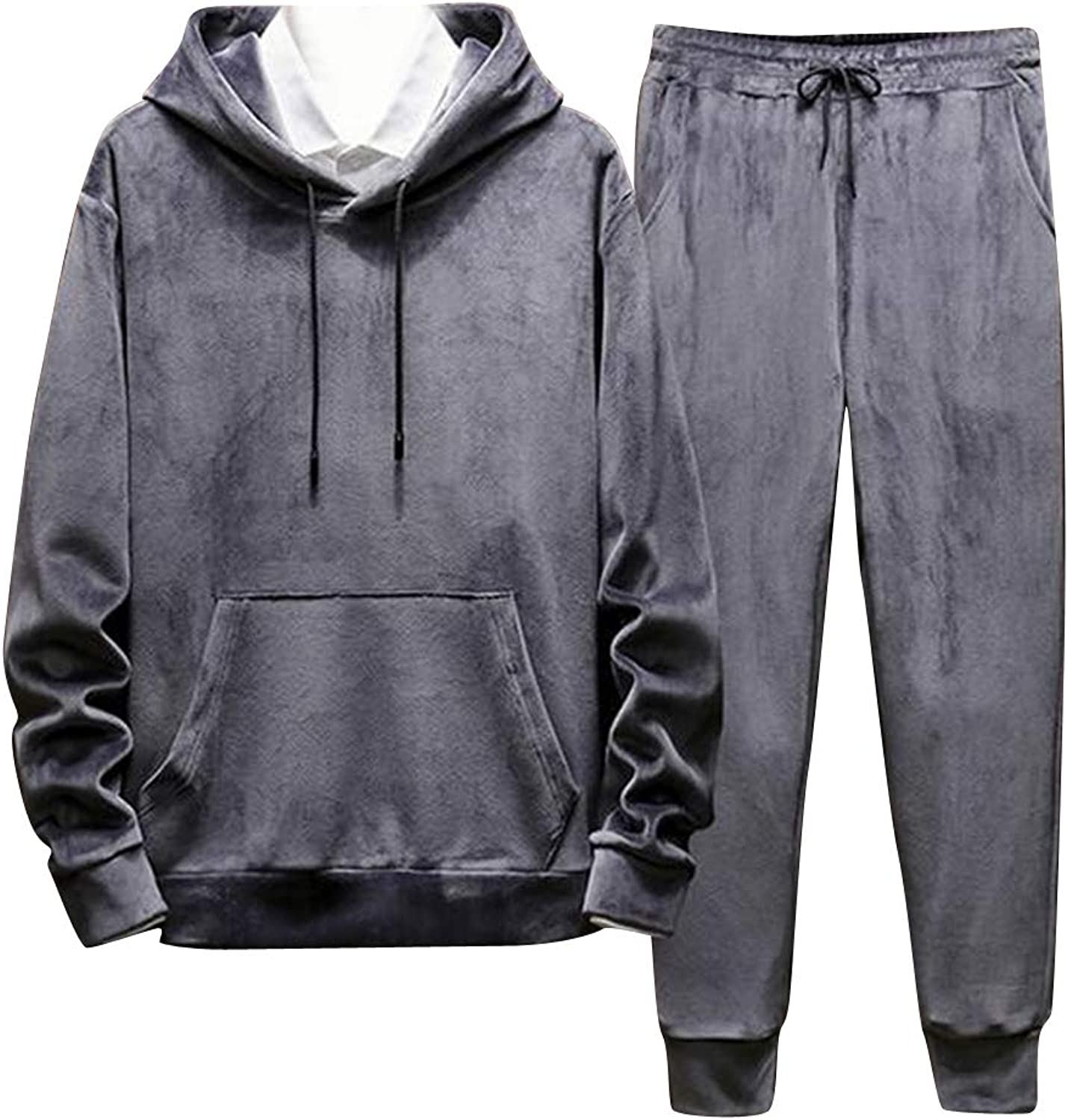 Fensajomon Mens Hoodies Sweatshirt+Pants Casual Velvet Sweatsuits Tracksuits Outfits