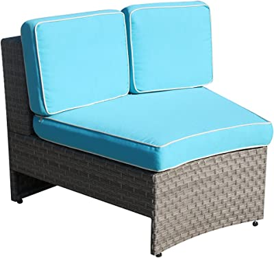 Amazon.com : Wicker Paradise CC3-W-Navy Madison Outdoor Sofa ...