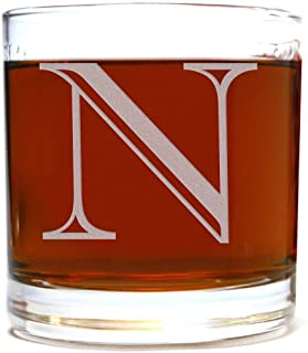 Etched Monogram 10.5oz Rocks Old Fashioned Lowball Glass for Whiskey Scotch Bourbon (Letter N)
