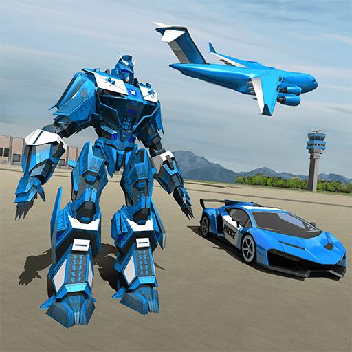 US-Polizei-Roboter-Auto-Spiel - Polizeiflugzeug-Transport