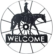 Outside Welcome Sign, Cowboy Wheel Outdoor Home Decor Metal Welcome Sign Door