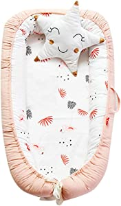 Jersh Newborn Baby Knit Portable Removable And Washable Crib Travel Bed Nest Bed Crib Baby Uterus Bionic Bed Braided Folding Crib Medium Bed Bionic Manual Fence Three-Dimensional Protective Crib  2-E
