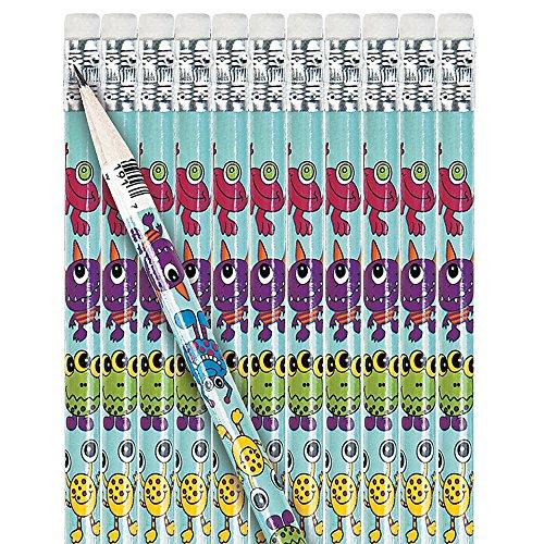Elfen und Zwerge - Monster Bleistift - mit Radierer - zum Zeichnen & Schreiben - als Mitgebsel zum Kindergeburtstag - 12 Stück