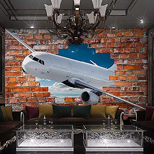 Wandbild Fototapete für Wände 3D Stereoscopic Aircraft Breaking Wall Art Wandmalerei Red Brick Background Wallpaper Wanddekoration fototapete 3d Tapete effekt Vlies wandbild Schlafzimmer-400cm×280cm