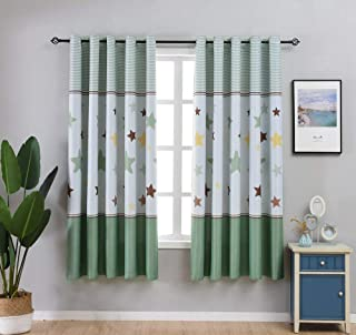 Green Star and Stripe Curtain Short Curtains for Small Windows Thermal Insulated 80% Blackout Curtains Decorative Window Panel Drapes for Kids Boys Room Grommet Top Set of 2 Panel,W52 x L77 Inch