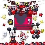 REYOK Palloncini Party Minnie,46 PCS Forniture per Feste di Compleanno di Topolino includono Banner,Palloncini striscioni Cupcake per Feste Tema di Compleanno Baby Shower Decorazioni