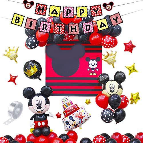 Mickey et Minnie Party Supplies 46PCS Décorations d'anniversaire Mickey Mouse Rouge et Noir Ballons...