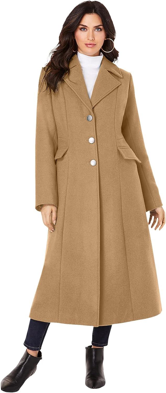 Roaman's Women's Plus Size Long Wool-Blend Coat Winter Classic
