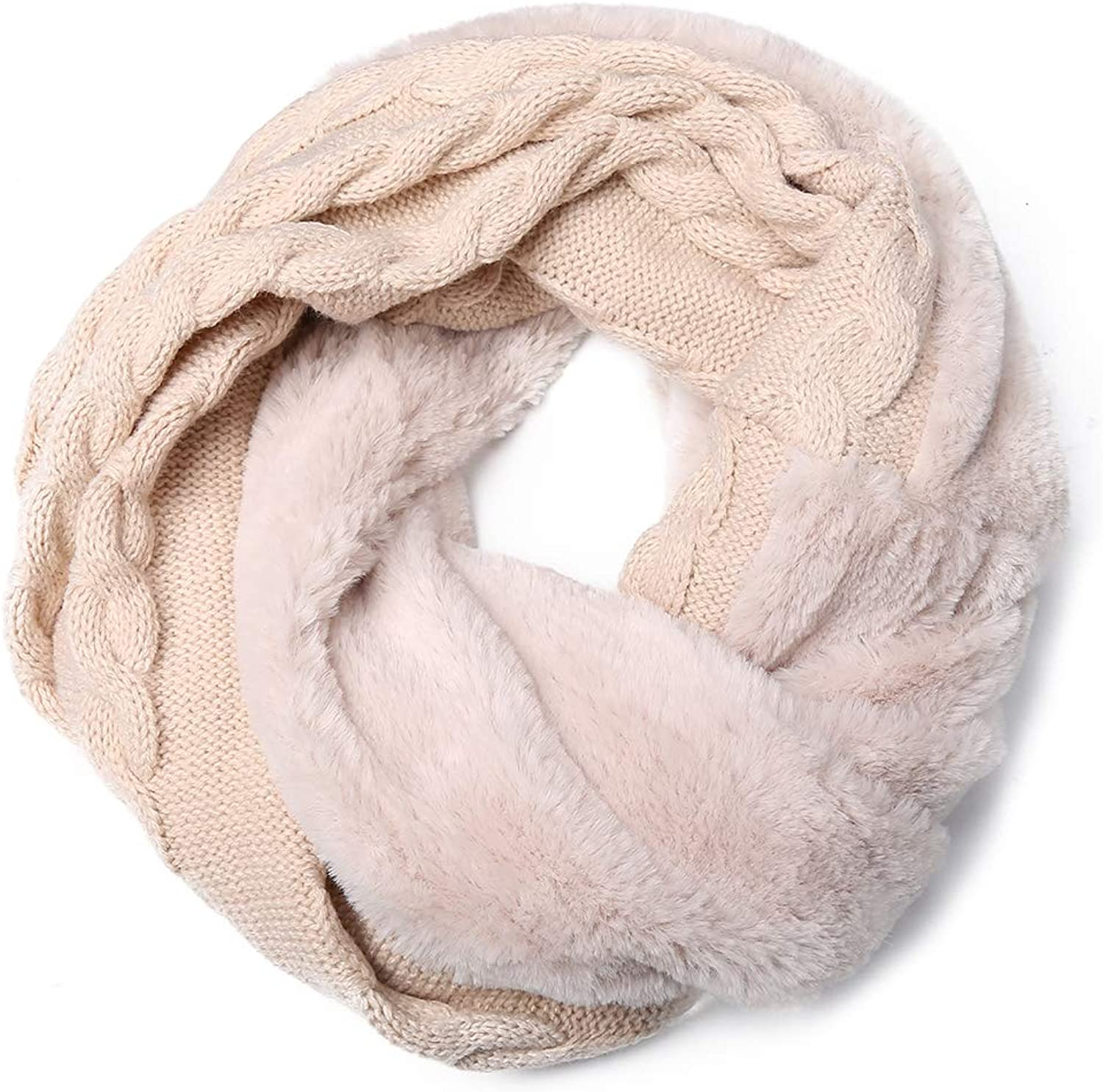 Women Infinity Circle Loop Scarf Winter Thick Ribbed Knit Warm