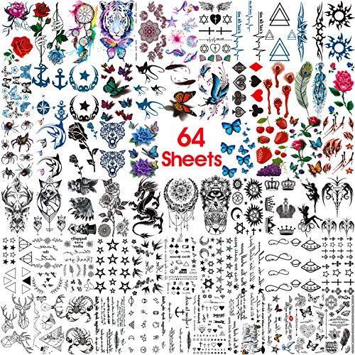 COKTAK 64 Feuilles Petit Tatouages Ephemere Enfant...