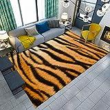 TANGYUAN Alfombra Pasillo Cocina Escalera Diseño Moderno - Alfombra de salón con diseño de Tigre de Arte a Rayas diseño Creativo de Moda y fácil de Limpiar Terciopelo Corto-El 160x230cm