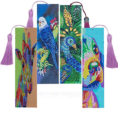 4 Pack DIY Diamond Painting Bookmarks Animals Bookmark with Tassel,Parrot,Peacock,Giraffe,Dog 5D Special Shaped Diamond Painting Kits for Adults and Kids,8.3x2.4 Inch