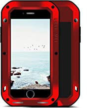 LOVE MEI iPhone 8/7 Plus Aluminium Metal Case, Gorilla Glass Shockproof Dust Proof Military Grade Bumper Frame Heavy Duty Cover Shell Protector for Apple iPhone 8 Plus (red)
