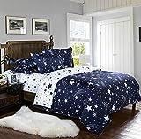 DOTBUY Bettbezug Set, 3 Pcs Generic Luxus Volant Bettdecke Bettbezug Set Einfache Bettwäsche Set Gemütlich enthalten Bettbezug Bettlaken Kopfkissenbezüge (135 * 200 cm, Meteorregen)