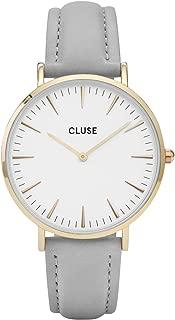 CLUSE La Bohème Gold White Grey CL18414 Women's Watch 38mm Leather Strap Minimalistic Design Casual Dress Japanese Quartz Elegant Timepiece