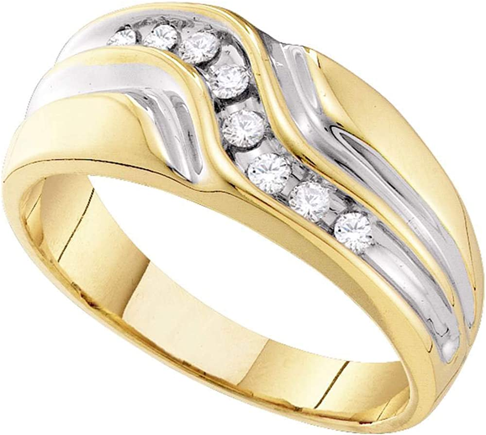 Dazzlingrock Collection 10kt Yellow Gold Mens Round Diamond Wedding Band Ring 1/4 ctw