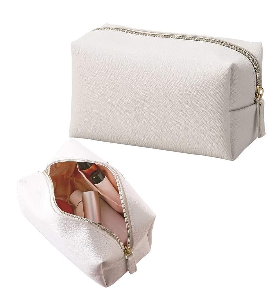 秀でるブランク採用するホワイト×ピンクゴールド エレガントな質感 化粧ポーチ コスメポーチ ボックス型