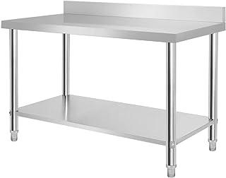 HENGMEI 150X60X85cm Table de Travail avec Backsplash Table de Cuisine en Acier Inoxydable Pieds réglables Tables de Prépar...