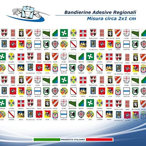 Bandierine Adesive Regionali misura 2x1 cm circa, Adesivi regione, regioni di italia come adesivo.