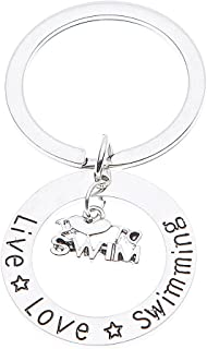 Infinity Collection Swim Keychain, Live Love Swimming Jewelry, Swimmer Jewelry For Swimmers & Swim Teams