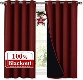 NICETOWN Kitchen Full Blackout Curtain Panels, Super Thick and Soft Insulated Window Covers, 100% Blackout Draperies with Black Backing for Cafe Window (Burgundy Red, Set of 2 PCs, 52 by 54-inch)