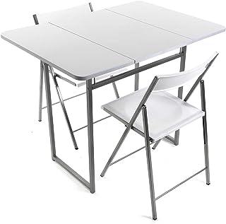Versa 19840050 Mesa plegable Blanca + 2 sillas, 70x45x80cm,