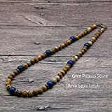 Collar Vintagemen Beaded Necklace Natural Stone Stone Chocker Collar para Hombres/Mujeres Tribal Jewelry Gift For Him 6Mmpicasso