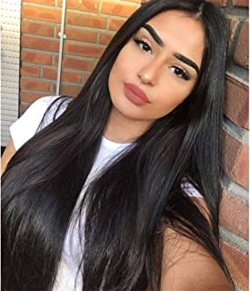Vigorous Long Straight Black Wigs for Women Synthetic Black Wig Middle Part Hairline Natural Looking Daily Party Wear Full...