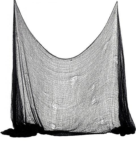 Foxxeo 35012X   Halloween Deko Stoff Dekostoff Tuch Decke Horror Halloweenstoff schwarz, Farbe:Schwarz
