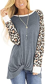 Avv Womens Tops Round Neck Leopard Long Sleeve Side Twist Knotted Blouse Tunic T Shirts