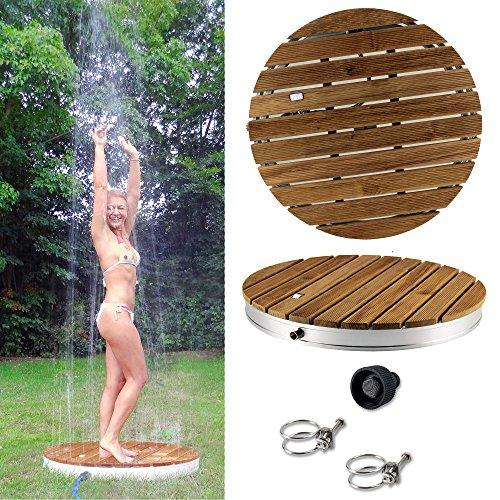 @tec runde Gartendusche Aussendusche aus massivem Teak-Holz, Mobile Bodendusche Campingdusche, Sauna- & Pool-Dusche rund mit Bodenplatte für den Garten, Outdoor Shower