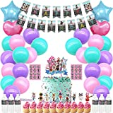 Girl Game Party Decorations for Roblox Party Supplies Cake Topper Cupcake Toppers Favor Birthday Balloons Banner Water Bottle Label