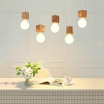 Gbly Suspension Luminaire Led Pendentif Bois Lampe 5 Lampes Pour